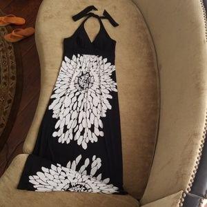 HeartSoul black/white floral halter top maxi dress